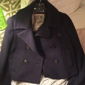 Navy wool cropped pea coat Ruehl no.925